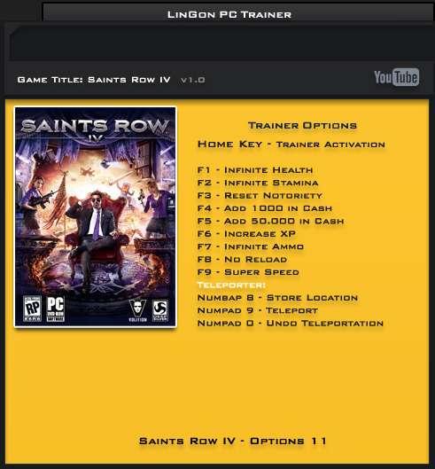 Saints Row IV v1.0 Steam +11 Trainer [LinGon]