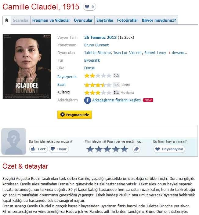 Camille Claudel, 1915 - 2013 Türkçe Dublaj 480p BRRip Tek Link indir